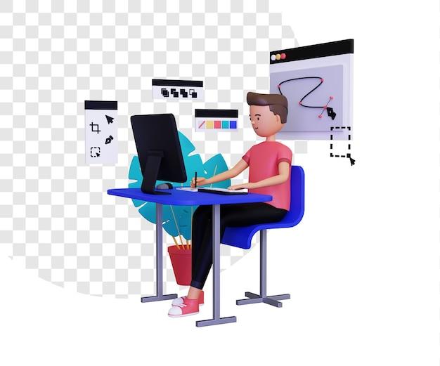 3d-grafikdesigner mit einem männlichen charakter mit einem computer