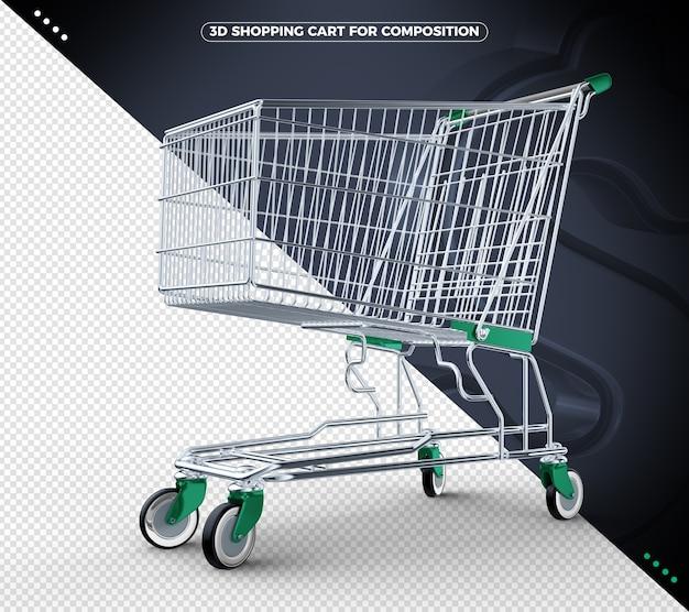 3d grüner einkaufswagen isoliert
