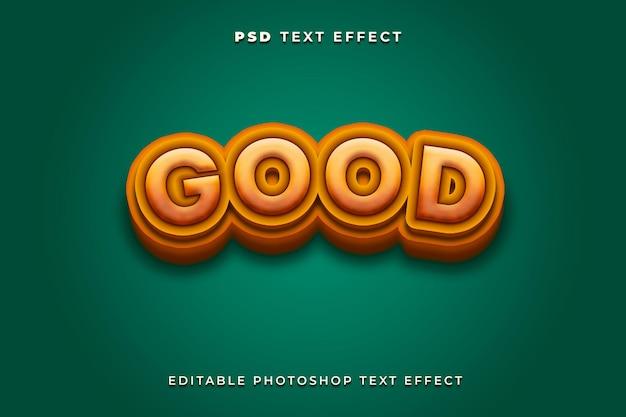 3d gute texteffektvorlage mit grünem hintergrund