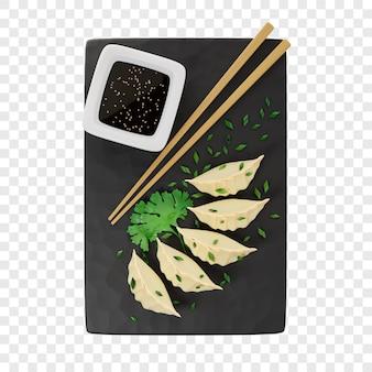 3d gyoza oder gebratene teigtaschen mit zwiebeln bestreut auf einem schwarzen schieferbrett neben stäbchen