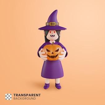 3d-halloween-charakter, der einen kürbis hält