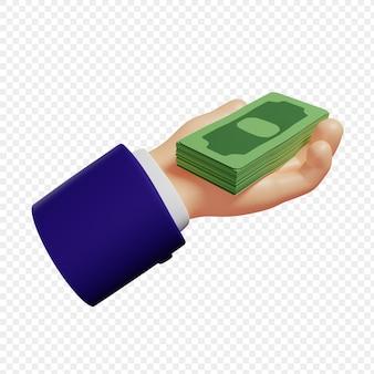 3d-hand, die ein bündel banknoten hält, isolierte darstellung 3d-rendering