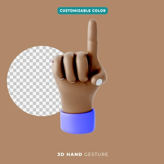 3d-hand, die gestensymbol zeigt