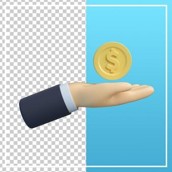 3d-hand mit finanzsymbol der münze