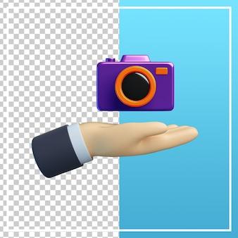 3d-hand mit kamera-symbol