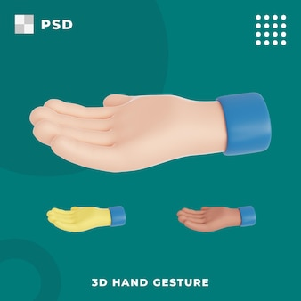 3d-hand mit offener geste