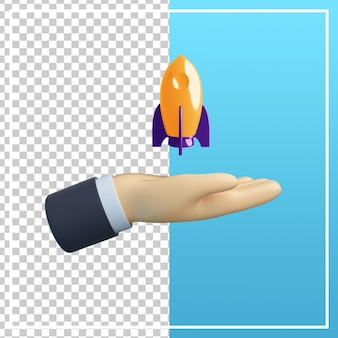 3d hand mit raketensymbol isoliert
