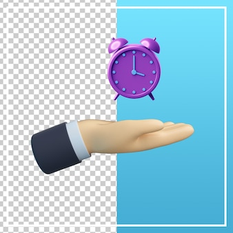 3d-hand mit weckersymbol