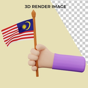 3d-hand-rendering mit malaysia national day concept premium psd