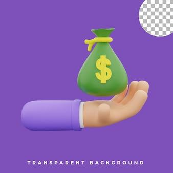 3d-handgeste illustration geldbeutelsymbol isolierte vermögenswerte von hoher qualität
