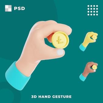 3d-handgeste mit hold-lite-münze