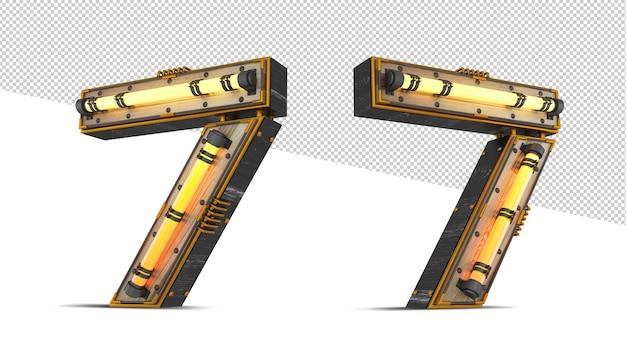 3d holznummer mit neonlichteffekt