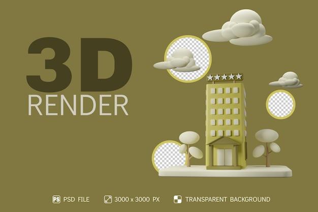 3d-hotel, wolke und baum mit isoliertem hintergrund