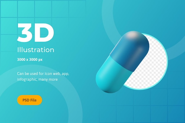 3d icon illustration, gesundheitswesen, kapselmedizin, für web, app, infografik