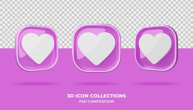 3d icon sammlungen auf rosa abzeichen