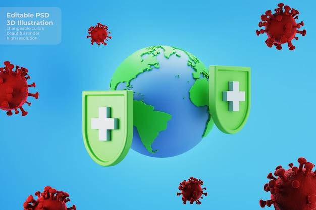 3d-illustration der erde, die impfschutz vor koronaviruskrankheit erhält
