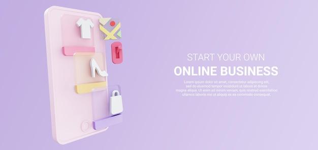 3d-illustration des smartphones mit produktkatalog für online-shop-shop und kartensymbol