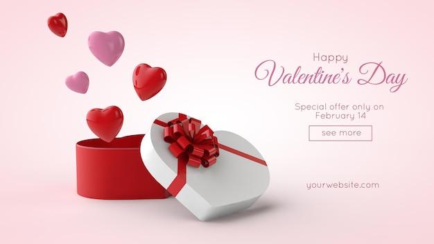 3d illustration des valentinstag-postkarten-modells
