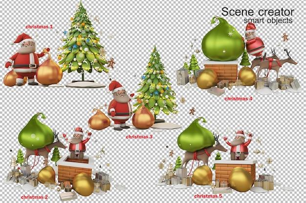3d-illustration ein geschenk vom weihnachtsmann am weihnachtstag