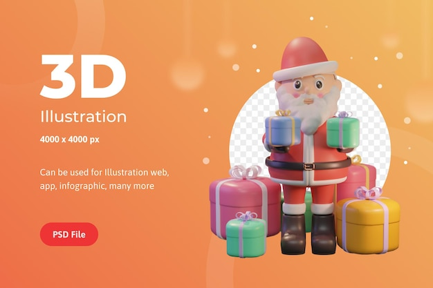 3d-illustration frohe weihnachten, mit weihnachtsmann und preisen, für web, app, infografik, werbung