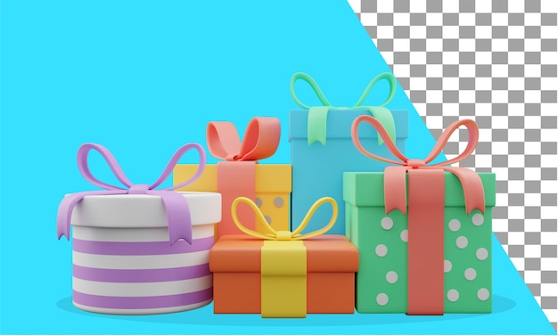 3d-illustration geburtstagsgeschenke sortiert psd