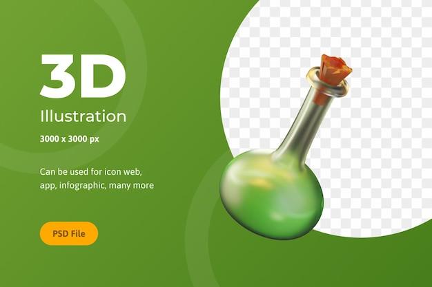 3d illustration halloween, chemieflasche, für web, app, feier, etc.