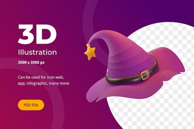 3d illustration halloween, hexenhut mit stern, für web, app, feier, etc.