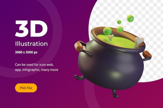 3d illustration halloween, kochtopf mit knochen, für web, app, feier, etc.