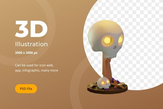 3d-illustration halloween, schädel mit holz, für web, app, feier, etc.