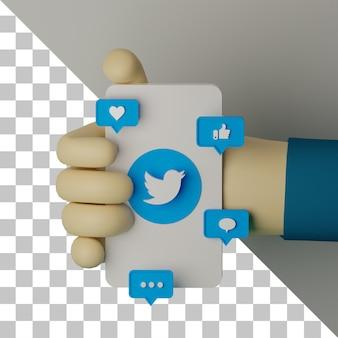 3d-illustration hand mit handy mit twitter-logo gerenderten hintergrund-marketing-konzept