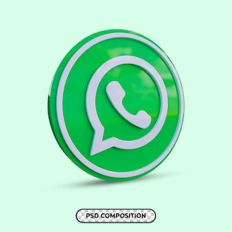3d-illustration whatsapp-logo isoliert