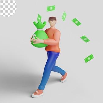 3d-illustrationen junger smiley-geschäftsmann, der volle geldbeutel-banknoten trägt, die herumfliegen