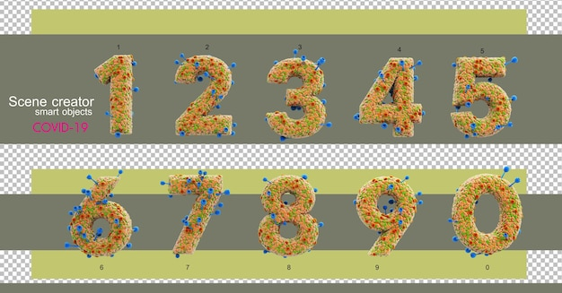 3d-illustrationen verschiedener zahlen und buchstaben mit covid-19