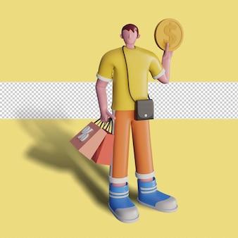 3d-illustrationen von glücklichen menschen kaufen im laden ein