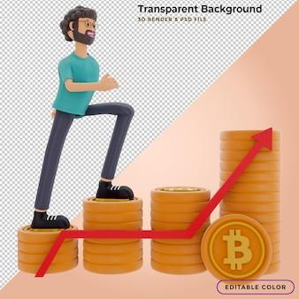 3d-illustrationscharakter steigt mit einem stapel bitcoin zum erfolg auf