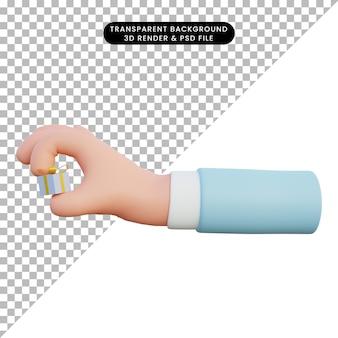 3d-illustrationshand, die geschenkbox hält