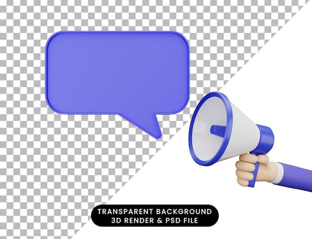 3d-illustrationshand mit megaphon und chat-popup