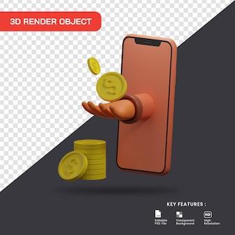 3d-illustrationskonzept des online-shoppings. geld verdienen mit dem online-markt.