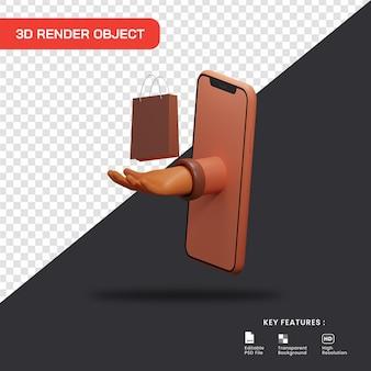 3d-illustrationskonzept des online-shoppings. smartphone mit handempfangstasche.