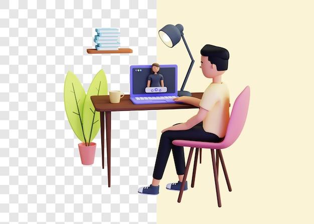 3d-illustrationskonzept des videoanrufs mit freunden
