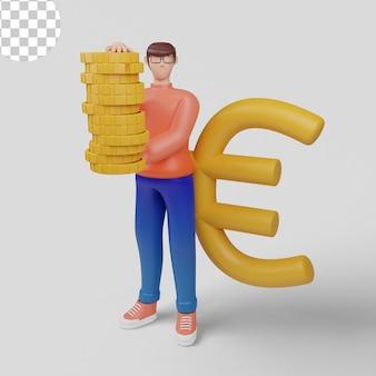 3d-illustrationskonzept geschäftsmann mit großem eurozeichen-investitionskonzept