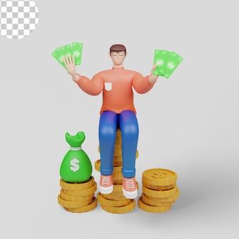 3d-illustrationskonzept reicher mann cartoon mit geschäftsmann hält geld psd premium