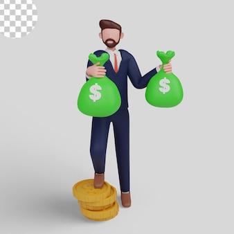 3d-illustrationskonzept rich man cartoon mit geschäftsmann, der geld hält
