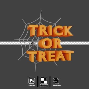 3d-illustrationskonzept von halloween-event-süßes oder saures spinnennetz isoliert