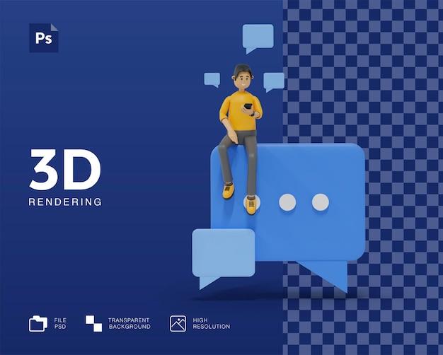 3d-illustrationsmann, der chattet
