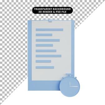3d-illustrationspapier mit uhrsymbol