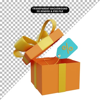 3d-illustrationsrabatt auf geschenkbox