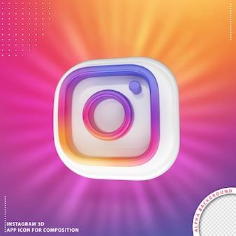 3d instagram-anwendung gedreht knopf weiß