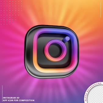 3d instagram-anwendung gedreht knopf