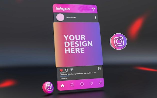 3d-instagram-mockup-artwork-post auf social media